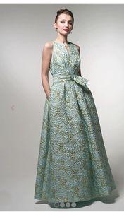 New Carol Peretz Aqua and Gold Floral Evening Gown